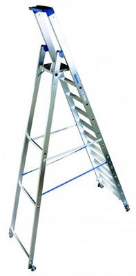 Свободностоящая стремянка Krause Stabilo 12 ступенек с роликами Купить в магазине Tayger