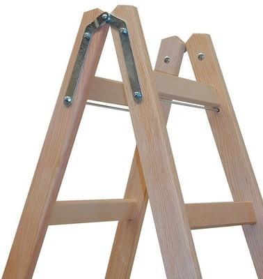 Двусторонняя лестница из дерева Krause STABILO с перекладинами, 2 х 7 перекладин Купить в магазине Tayger