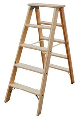 Двусторонняя лестница из дерева Krause STABILO со ступенями, 2 х 6 ступеней Купить в магазине Tayger