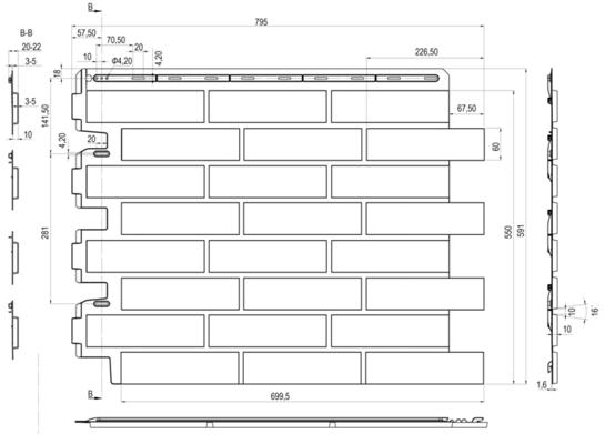 Размеры Фасадная панель Кирпич Рижский (04) Альта-Профиль под кирпич