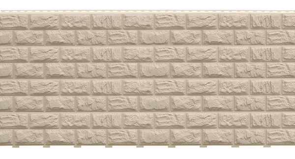 Фасадные панели (Цокольный Сайдинг) Доломит Альпийский 2-х метровый (Дикий Камень) Слоновая кость