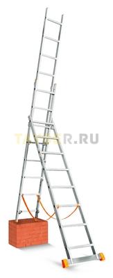 Лестница трехсекционная Эйфель Гранит 3х10 ступеней функция разноуровневой установки