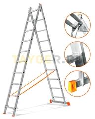 Лестница двухсекционная Эйфель ГРАНИТ 2х10 ступеней