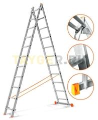 Лестница двухсекционная Эйфель ГРАНИТ 2х11 ступеней
