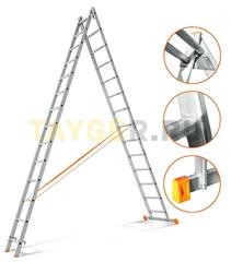 Лестница двухсекционная Эйфель ГРАНИТ 2х14 ступеней