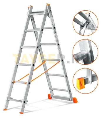 Лестница двухсекционная Эйфель ГРАНИТ 2х6 ступеней
