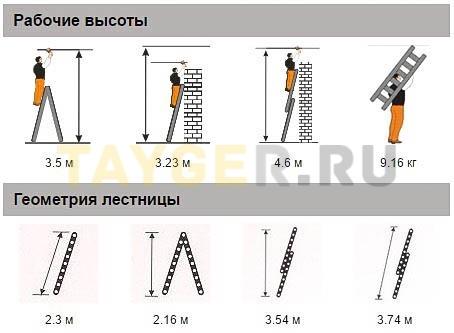 Лестница двухсекционная Эйфель ГРАНИТ 2х8 ступеней рабочая высота и геометрия
