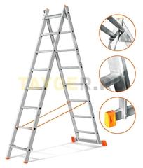 Лестница двухсекционная Эйфель ГРАНИТ 2х8 ступеней