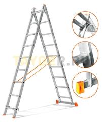 Лестница двухсекционная Эйфель ГРАНИТ 2х9 ступеней