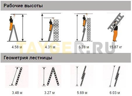 Лестница двухсекционная Эйфель Классик 2х12 ступеней Рабочая высота и геомерия
