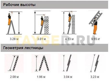 Лестница двухсекционная Эйфель Классик 2х7 ступеней Рабочая высота и геомерия