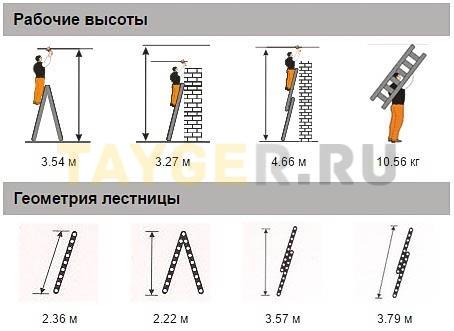 Лестница двухсекционная Эйфель Классик 2х8 ступеней Рабочая высота и геомерия