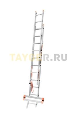 Лестница двухсекционная Эйфель ПРЕМЬЕР 2x10 ступеней в разложенном состоянии