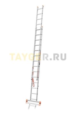Лестница двухсекционная Эйфель ПРЕМЬЕР 2x14 ступеней в разложенном состоянии