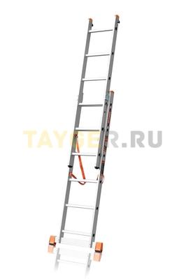Лестница двухсекционная Эйфель ПРЕМЬЕР 2x6 ступеней в разложенном состоянии