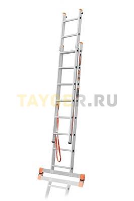Лестница двухсекционная Эйфель ПРЕМЬЕР 2x8 ступеней в разложенном состоянии
