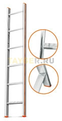 Лестница приставная 6 ступеней Эйфель КОМФОРТ-ПРОФИ односекционная