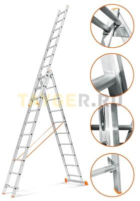 Лестница трехсекционная Эйфель Гранит 3х10 ступеней