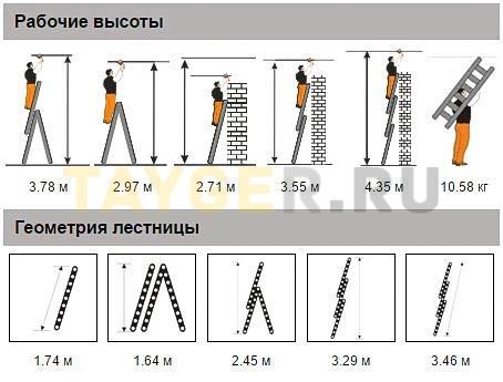 Лестница трехсекционная Эйфель Гранит 3х6 ступеней рабочая высота и геометрия