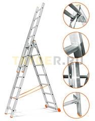 Лестница трехсекционная Эйфель Гранит 3х7 ступеней