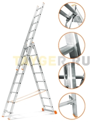Лестница трехсекционная Эйфель Гранит 3х8 ступеней