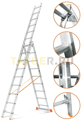 Лестница трехсекционная Эйфель Гранит 3х9 ступеней